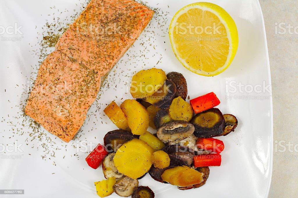 Wild Salmon with Mixed Vegetables stock photo