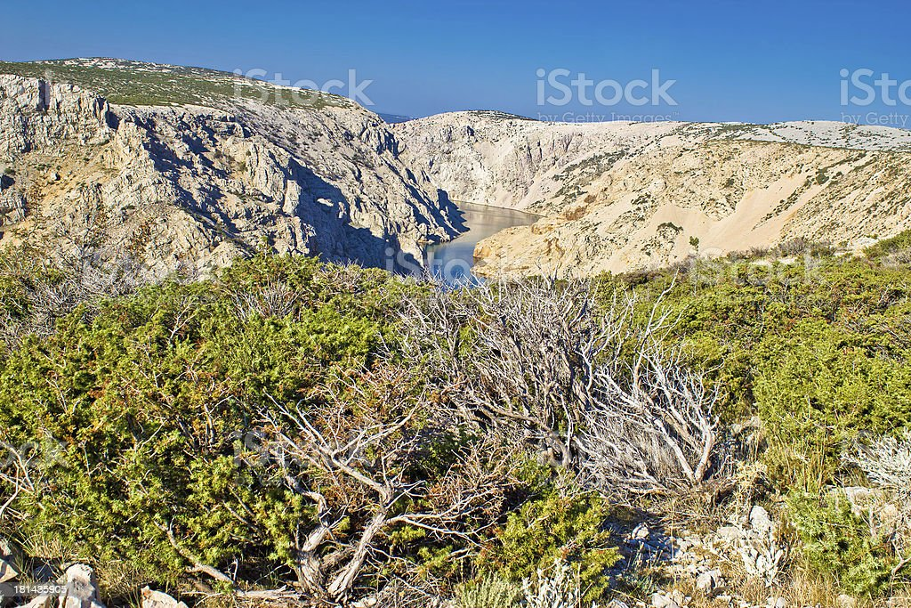 Wild scenery of Zrmanja grand canyon stock photo