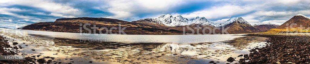 Wild Scotland Panorama in Winter, Isle of Skye stock photo