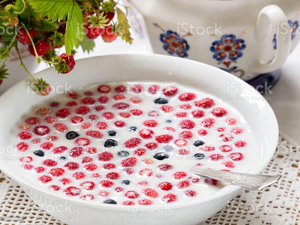Wild strawberries with milk royalty-free stock photo