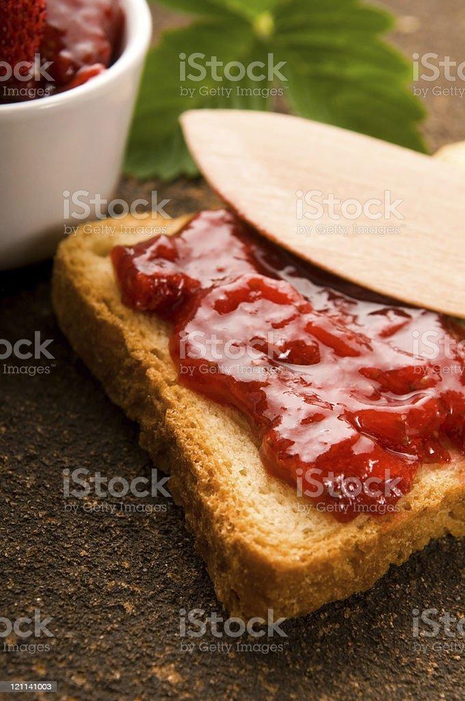 Wild strawberry jam with toast stock photo
