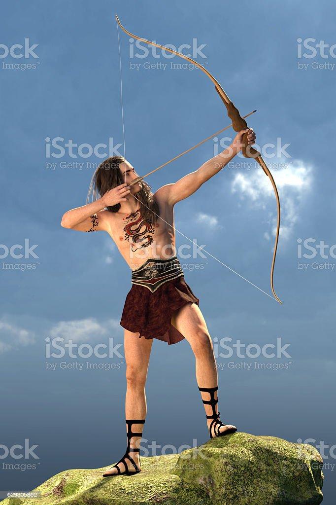 Wild tribal archer stock photo