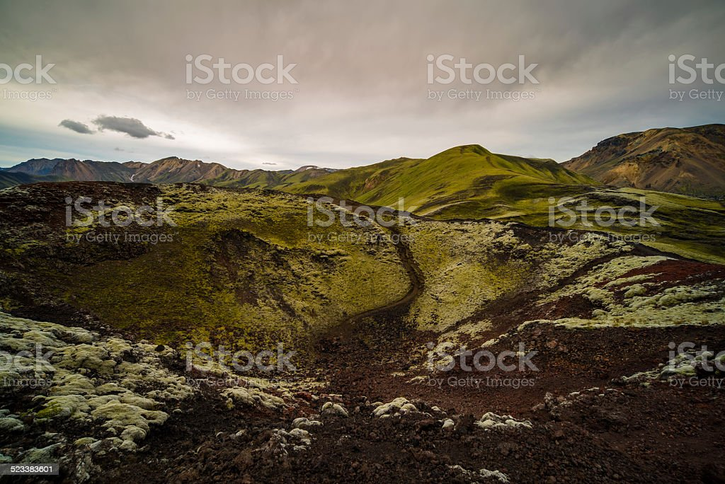 wild volcano in central Iceland stock photo