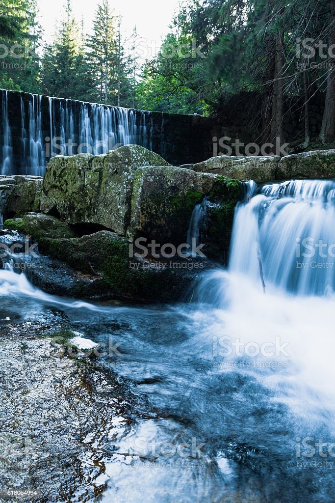 Wild Waterfall in beautiful scenery of Karkonosze Mountains. stock photo
