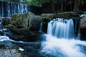Wild Waterfall in beautiful scenery of Karkonosze Mountains.