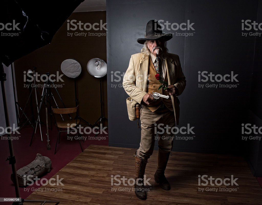 Wild West Cowboy Lawman Photoshoot In Studio stock photo
