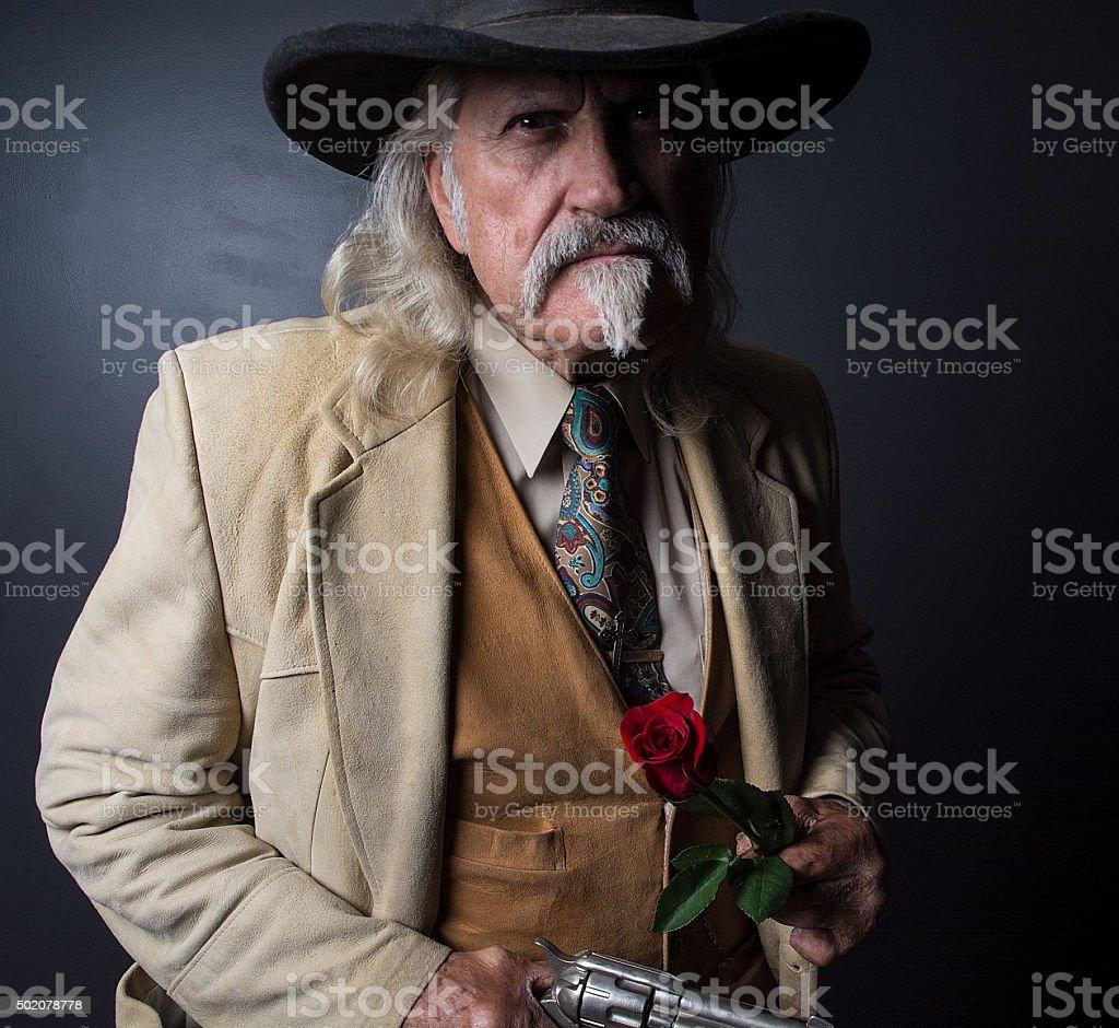 Wild West Cowboy Sheriff Lawman With Pistol stock photo