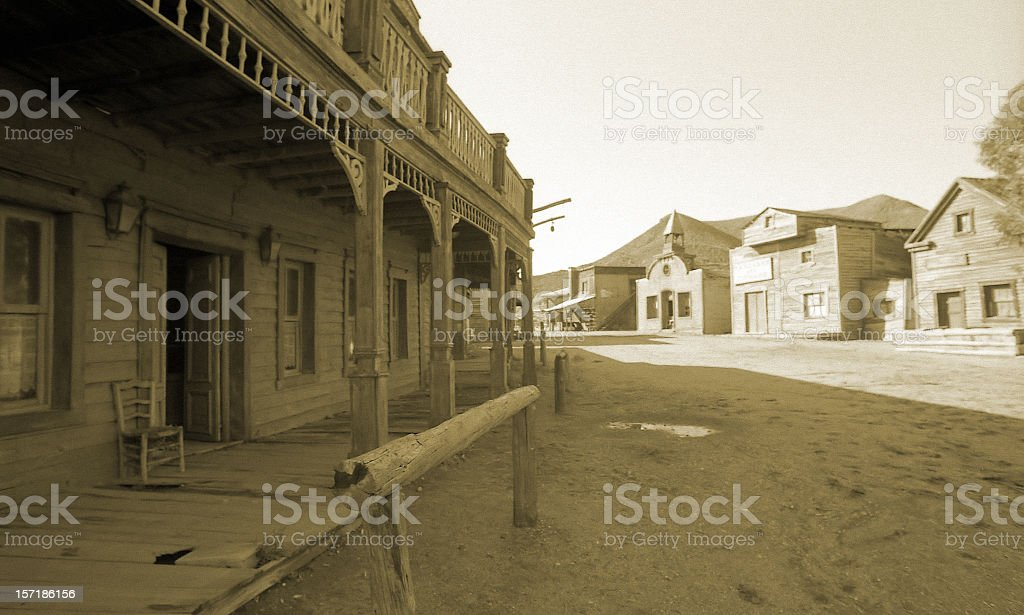Wild West, old wooden buildings, houses, sepia toned stock photo
