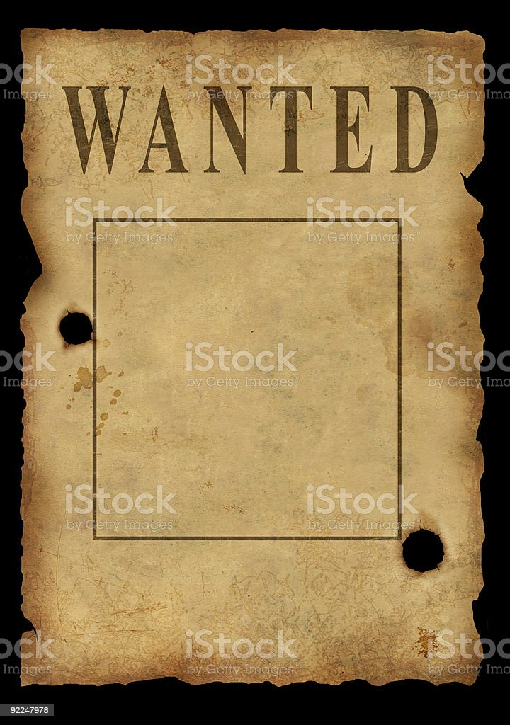 Wild West. Poster about search of the criminal stock photo