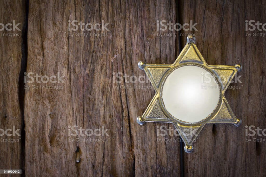 Wild West Sheriff badge stock photo