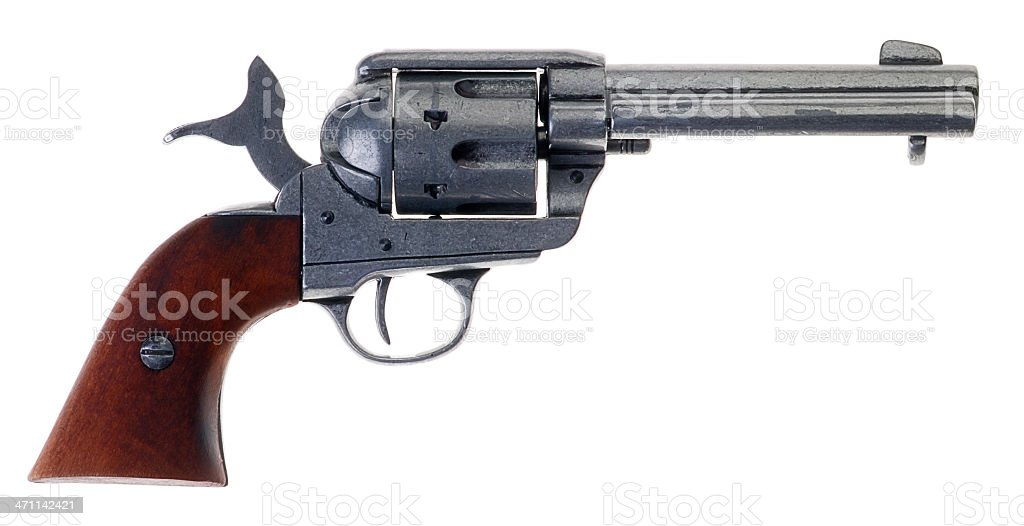 Wild West Six Shooter - Cocked Pistol stock photo