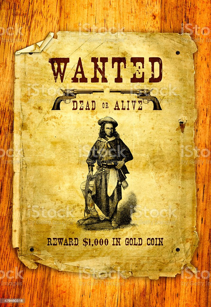 Wild West Wanted Outlaw Poster stock photo