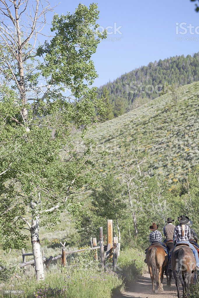 Wild western family riding a Montana dirt trail in summer royalty-free stock photo