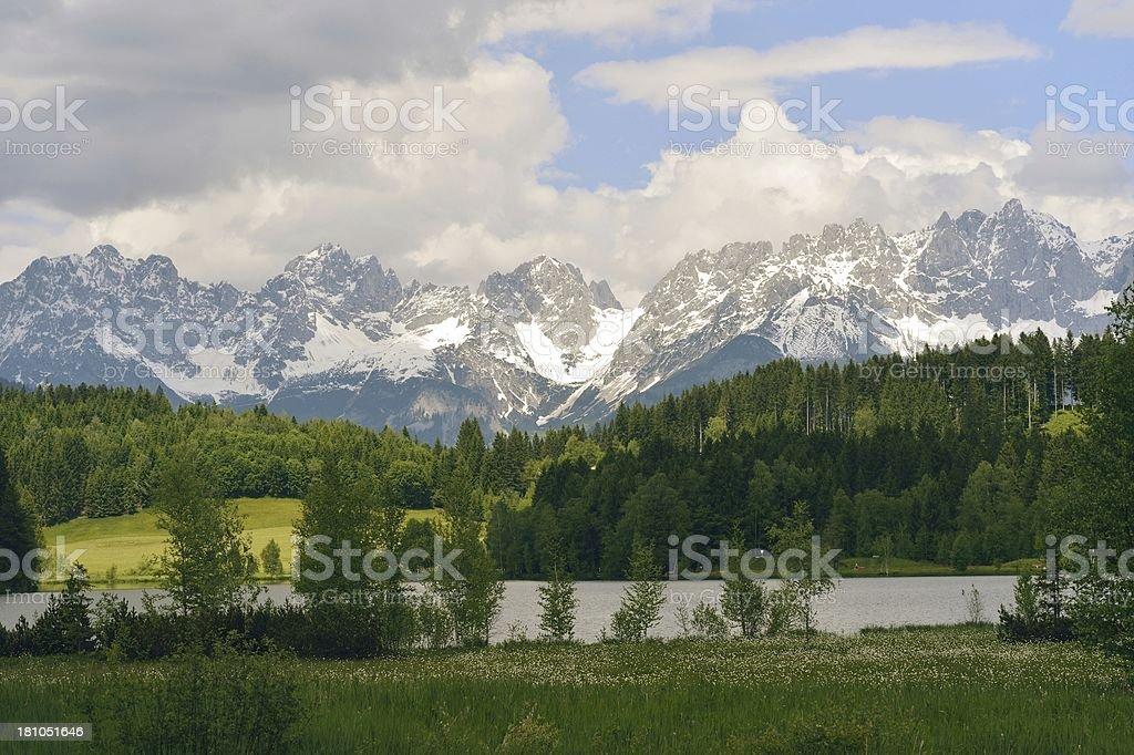 Wilder Kaiser Mountain in Austria covered with snow stock photo