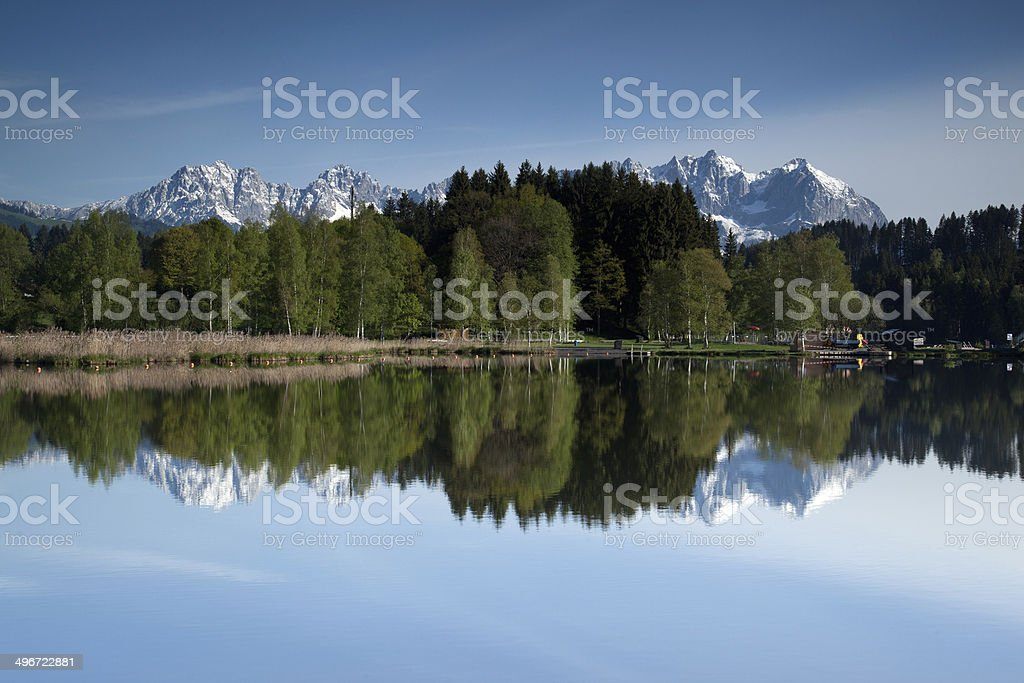 Wilder Kaiser reflected stock photo