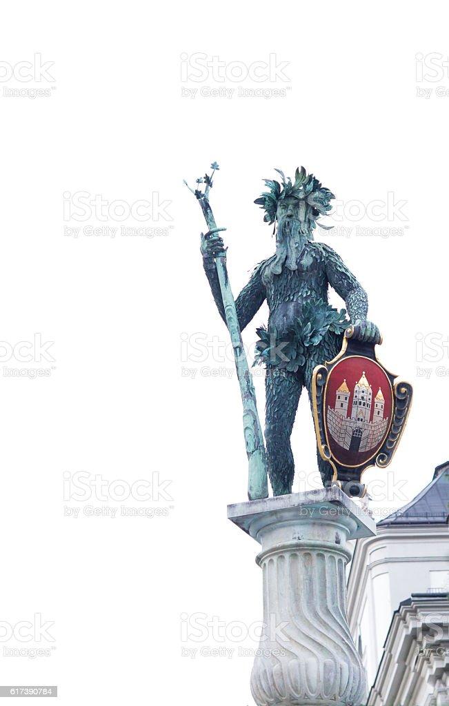 Wilder Mann (Wild Man) statue in Salzburg, Austria stock photo