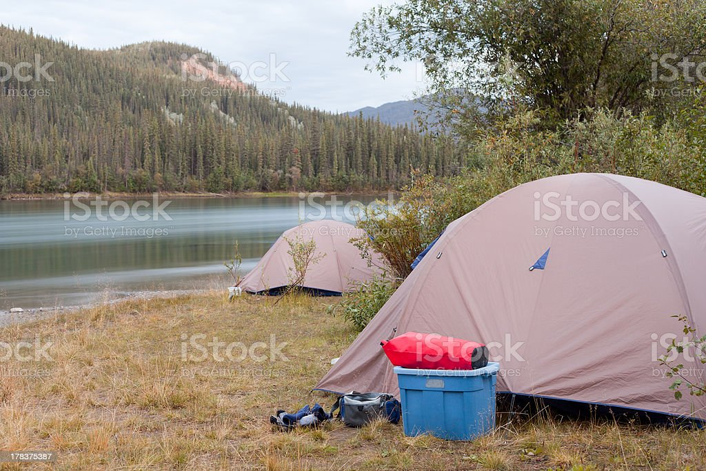 Wilderness camping on shore of Yukon River, Canada royalty-free stock photo