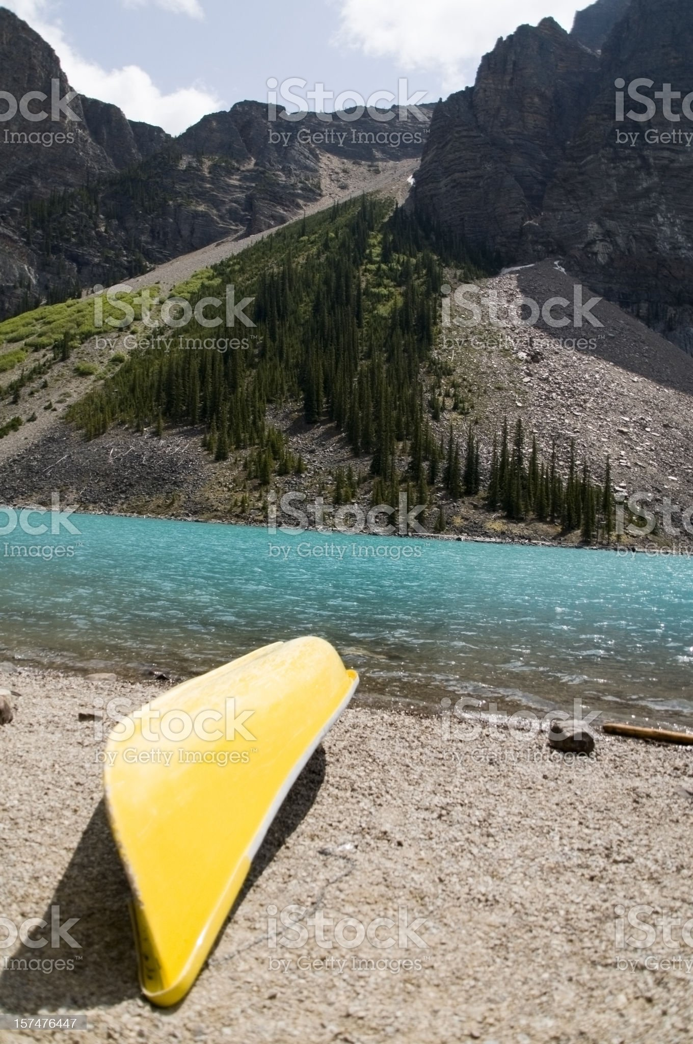 Wilderness Canoe, Moraine Lake royalty-free stock photo