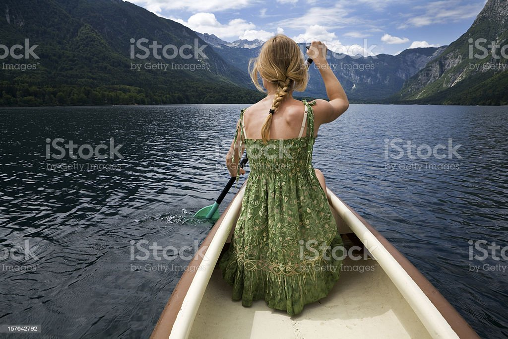Wilderness escape on a canoe stock photo