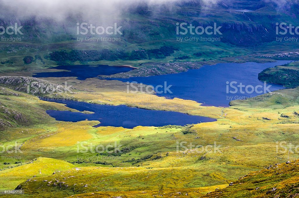 Wilderness landscape at Inverpolly in highlands of Scotland stock photo