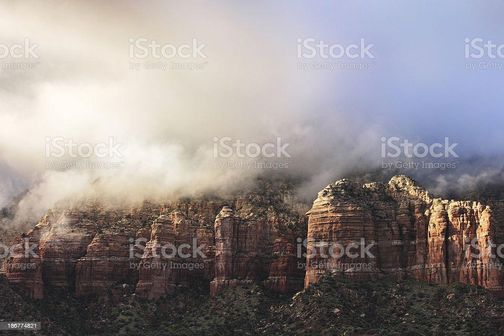 Wilderness Mountain Storm Cloud Fog stock photo