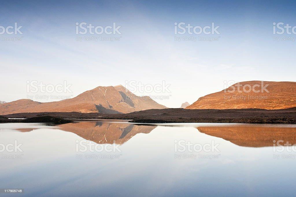 Wilderness reflections, Scottish highlands stock photo