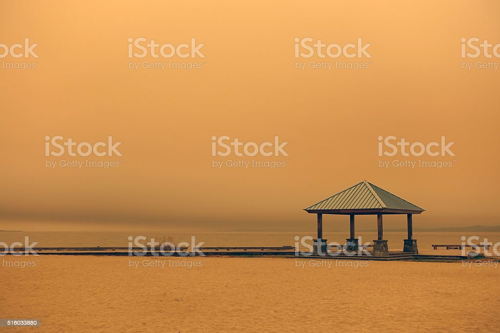 wildfire haze stock photo