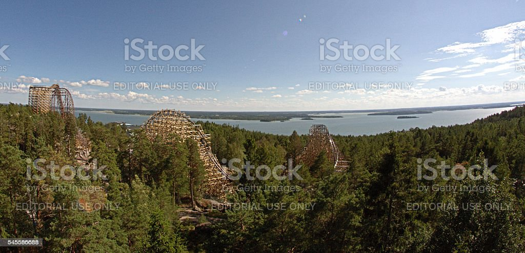 Wildfire is a wooden roller coaster at Kolmården stock photo