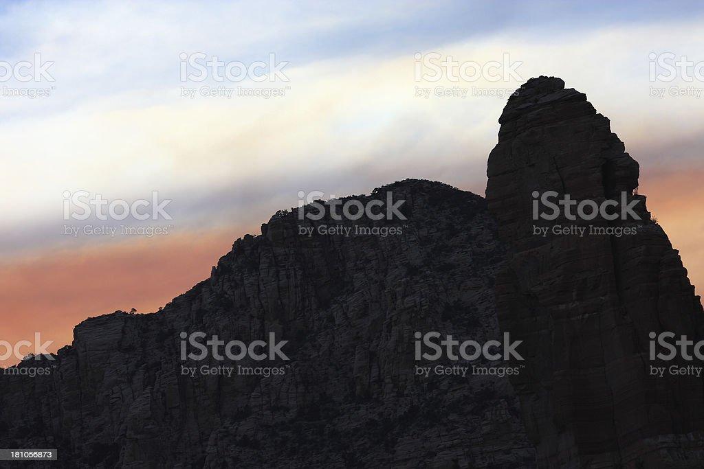 Wildfire Smoke Sunset Mountain Peak royalty-free stock photo