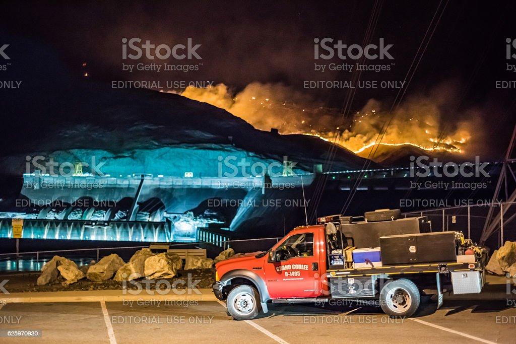 Wildfires burn at Grand Coulee Dam, Washington stock photo