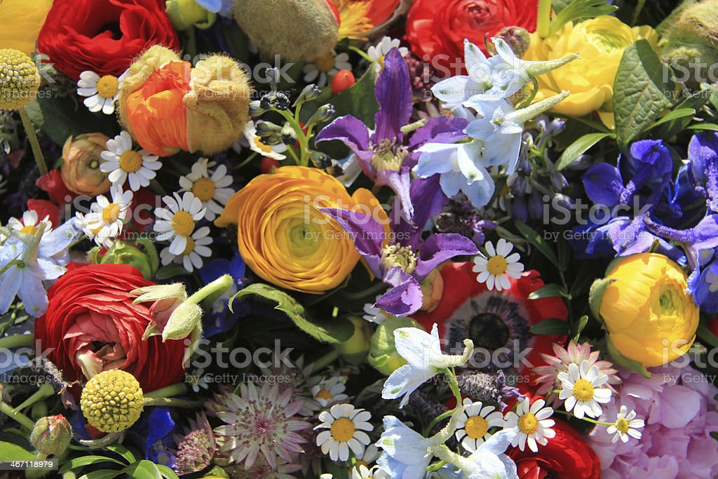 Wildflower arrangement in bright colors royalty-free stock photo