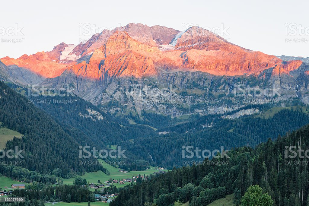 Wildstrubel Mountain with Evening Alpen Glow royalty-free stock photo