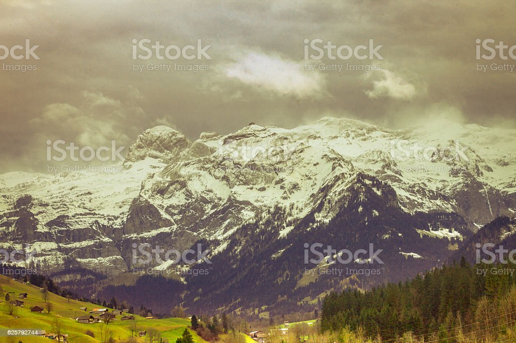 Wildtrubel Panorama, Foehn Storm, Landscape in late Fall. stock photo
