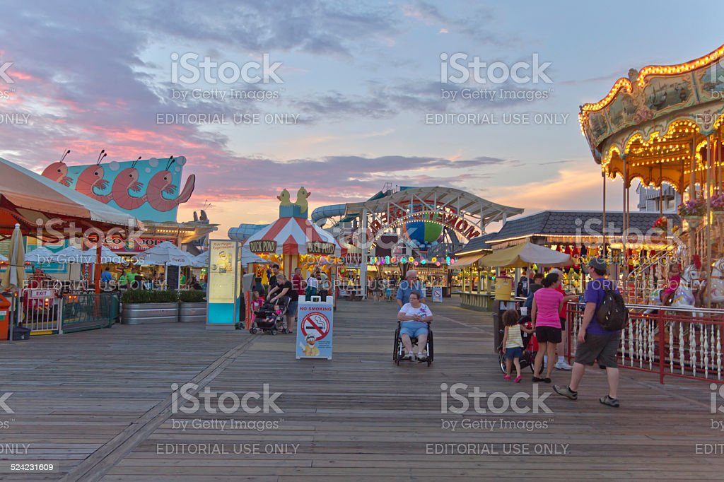 Wildwood Boardwalk at Twilight stock photo
