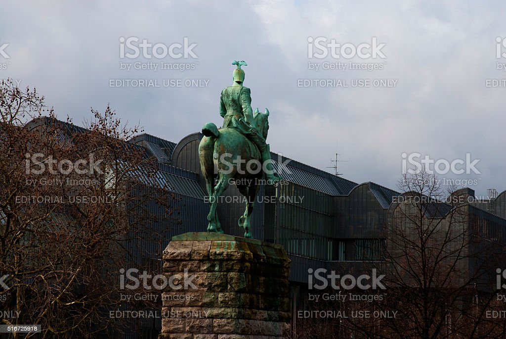 Wilhelm II horse statue and roof of Cologne philharmonic stock photo