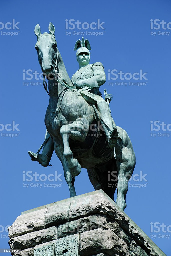 Wilhelm II on horse bronze statue in Cologne stock photo