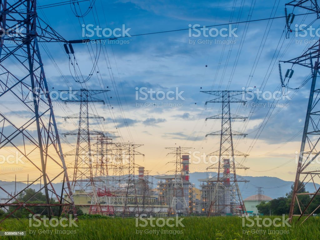wilight photo of High voltage post or High voltage tower stock photo