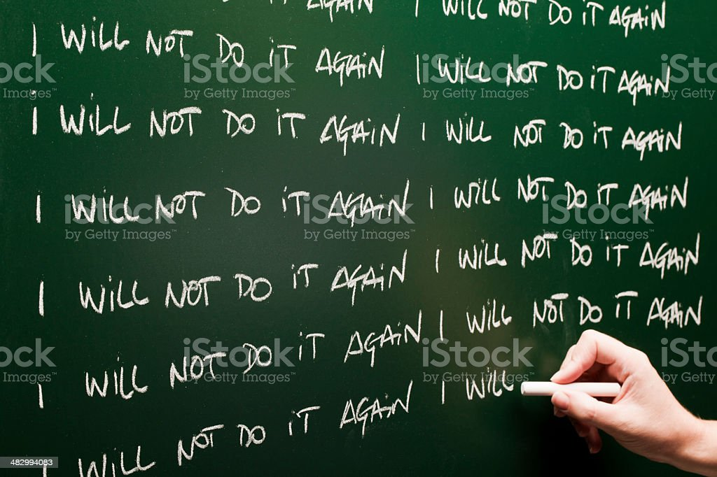 I will not do it again stock photo