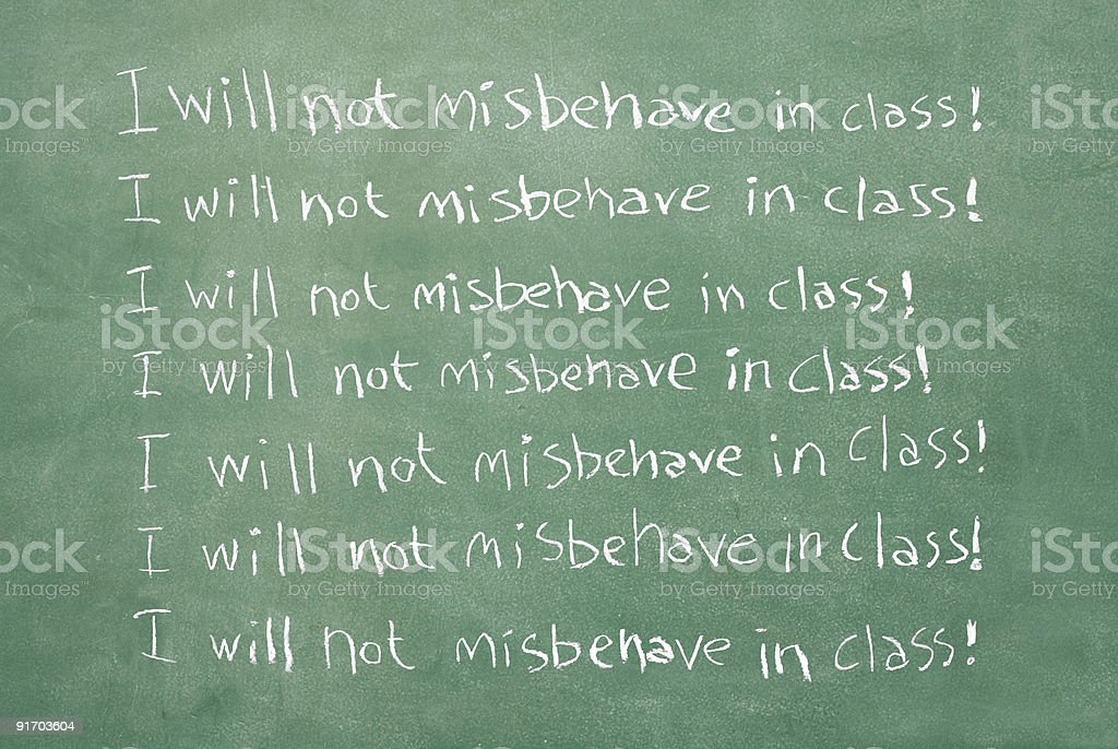 I will not misbehave in class! stock photo