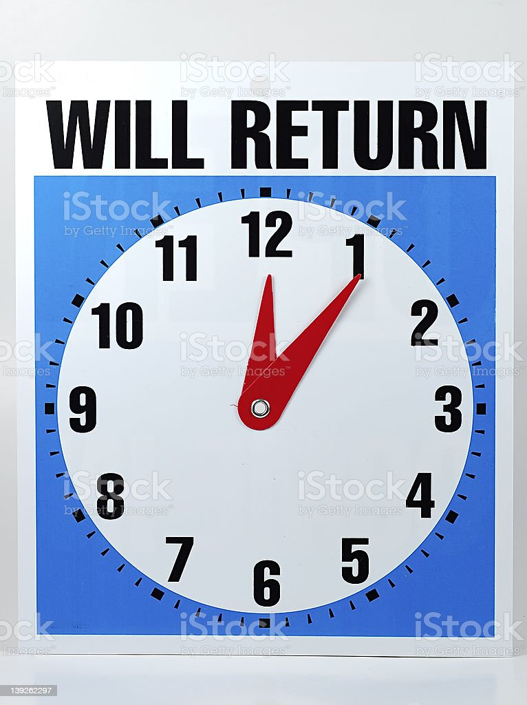 Will Return Sign royalty-free stock photo