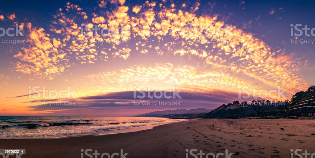 Will Rogers State Beach, Los Angeles, California, Sunset After Storm stock photo