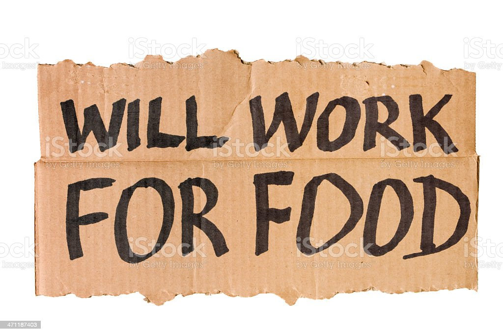 Will Work for Food Cardboard Sign stock photo