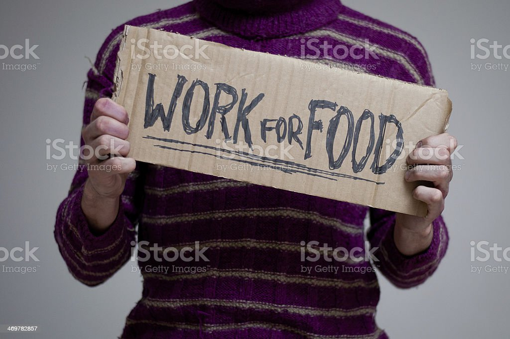 I will work for food stock photo