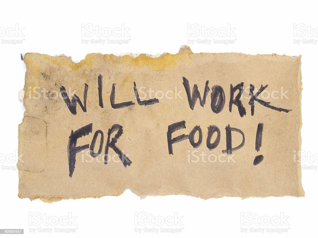 Will Work For Food Sign stock photo