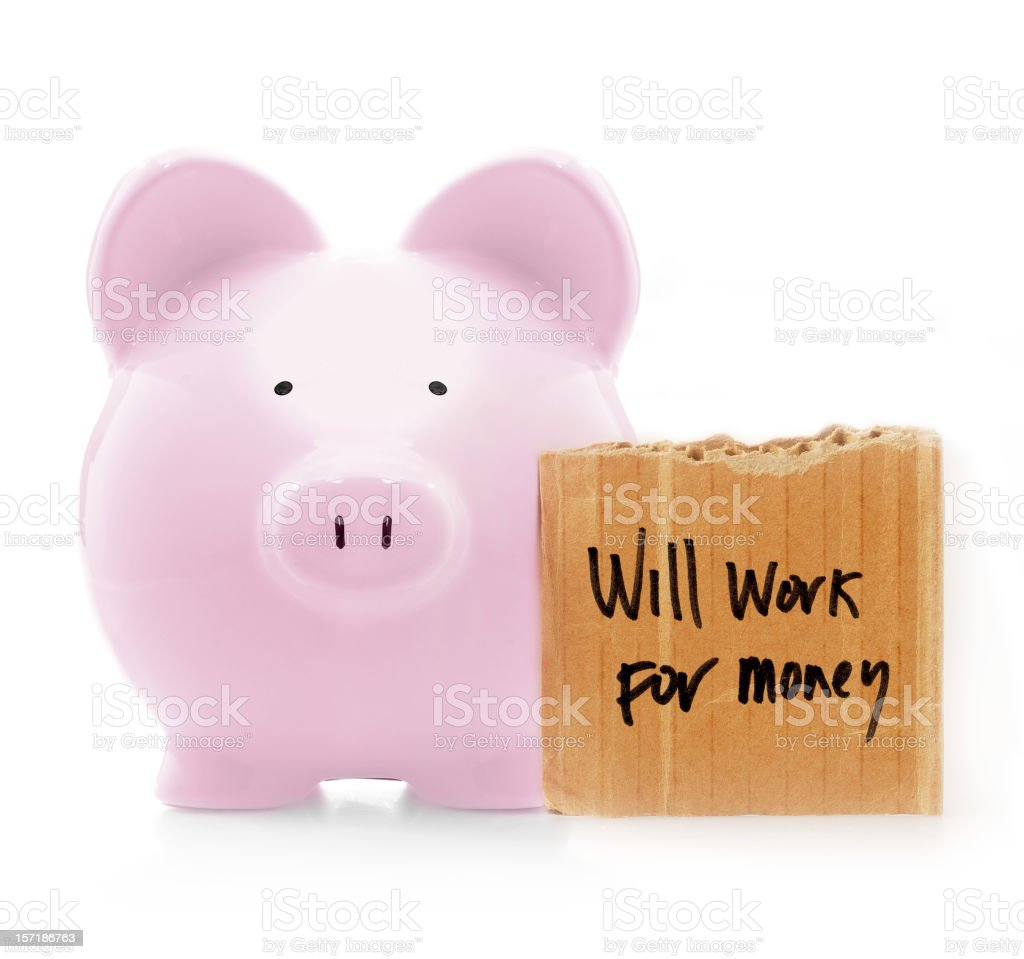 will work for money royalty-free stock photo