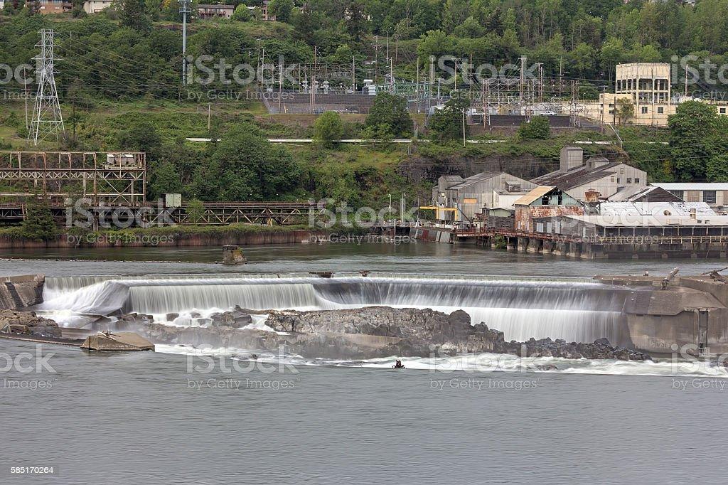 Willamette Falls in Oregon City stock photo