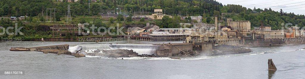 Willamette Falls Paper Mills in Oregon Panorama stock photo