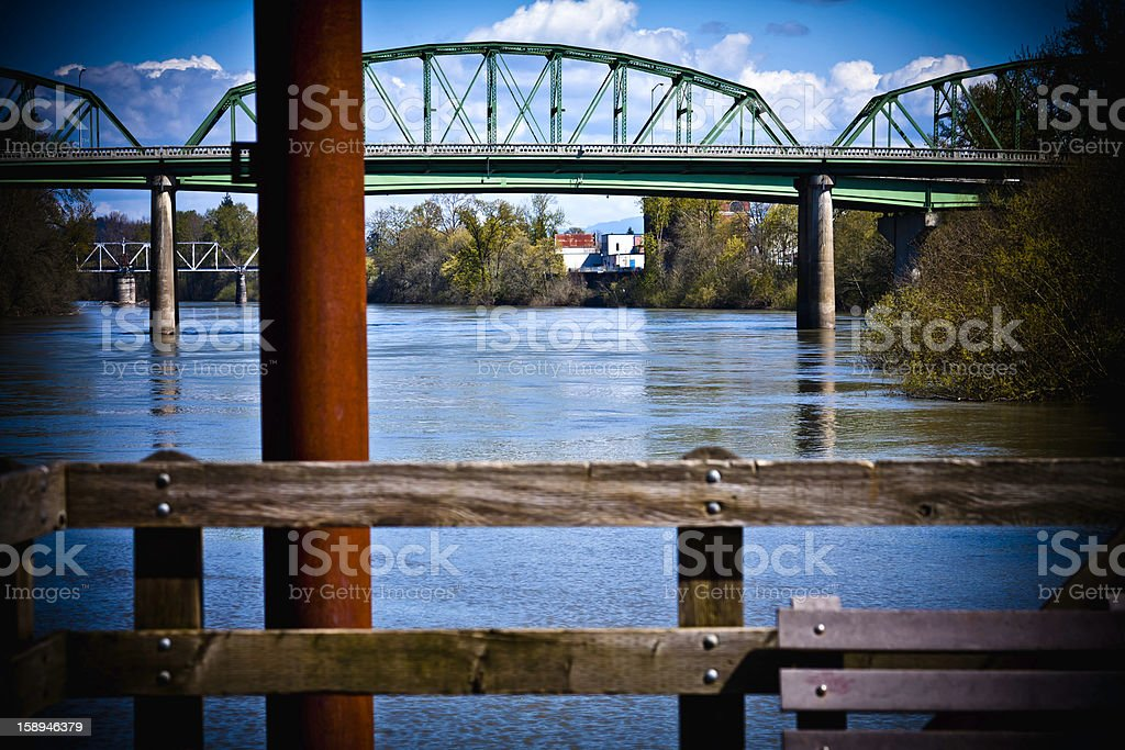 Willamette River 2 bridges stock photo