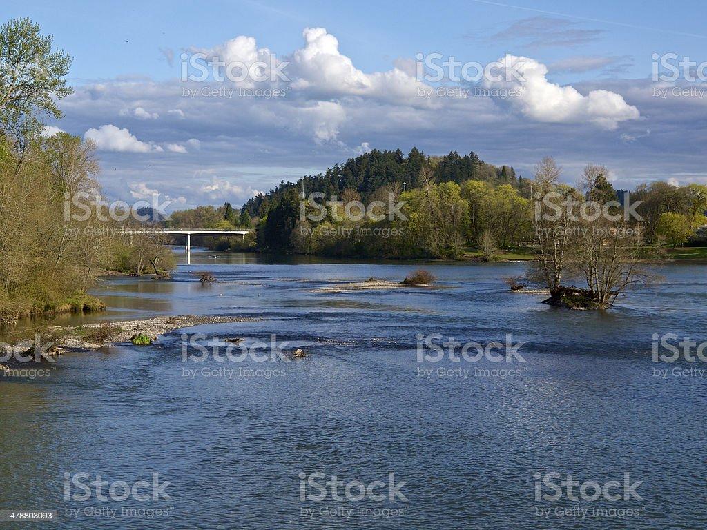 Willamette River Interstate 105 Eugene Oregon Clouds Bridge stock photo