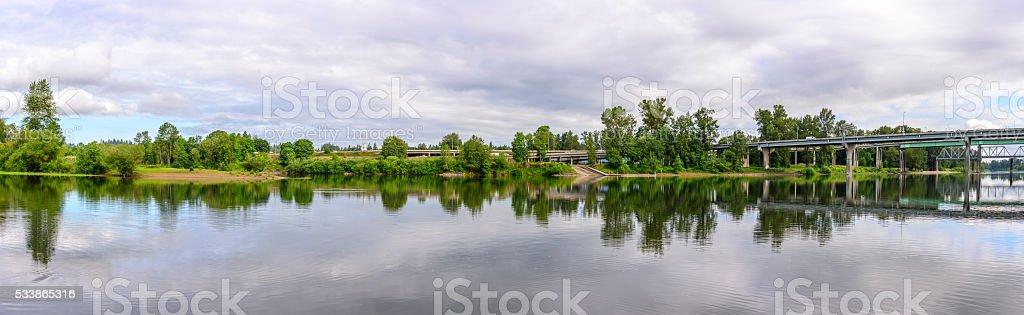 Willamette River Panorama stock photo